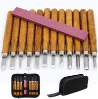 Holz-Schnitzwerkzeug Set, 12 Stück Stechbeiteln Schnitzmesser mit Schleifstein, Holzschnitzerei Meißel Set mit Tasche Schreiner Meißel für Profis und Anfänger