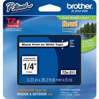 Etikettenband Brother TZE211 - 6,35 mm - Weiß - 1 Each