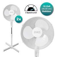 2 Stück Standventilator Ventilator weiß höhenverstellbar oszillierend Doppelpack Kühler Raum-Lüfter Luft-Erfrischer Lüftung Luft-Entfeuchter