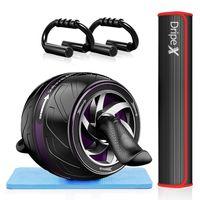 Dripex Bauchroller Set 4 IN 1 Bauchtrainer Fitnessset, AB Roller Bauchroller + Anti-Rutsch-Yogamatte/-Knieschützer+ 2 Liegestützgriffe, für zu Hause/Bauchmuskeltraining/Muskelaufbau, Frauen und Männer
