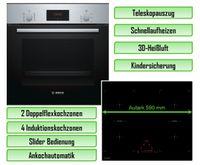 Bosch Backofen HBF134YS1 mit Keenberk Induktionskochfeld KI60KB - autark, 60 cm + Teleskopauszug