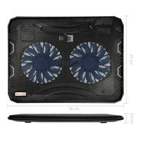 kwmobile Laptopkühler externer Notebookkühler Kühlmatte - bis 15,6 Zoll mit Ständer 2x Lüfter - Cooler mit USB Port LED Beleuchtung - Schwarz