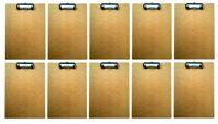 10 Set Klemmbrett A4 Holz mit Klemme aus Metall | Schreibunterlage | Clipboard