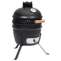 vidaXL 2-in-1 Kamado-Grill Smoker Keramik 56 cm Schwarz