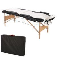 Massageliege 2 Zonen Kopfstütze Ergonomische Weiß / Schwarz Mobile Massagebank Tasche Kosmetikliege Tragbar Holzfüßen Höhenverstellbaren Massagebett