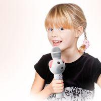Lenco BMC-060WH - Karaoke-Mikrofon mit BT, SD-Slot, Beleuchtung, Aux-Ausgang- Weiß