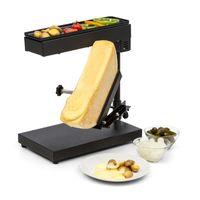Klarstein Appenzell Peak - Raclette mit Grill, Käseschmelzer, traditionelles Käseschmelzen, Käse-Raclette, 1000 Watt, Temperatur einstellbar, neigbar, höhenverstellbar, Edelstahl, schwarz