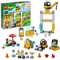 LEGO 10933 DUPLO Große Baustelle mit Licht und Ton, Fahrzeuge mit Push und Go Motor, Spielzeug für Kinder im Alter von 2–5 Jahren