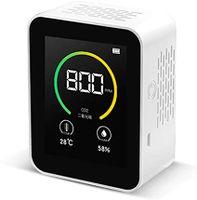 CO2-Kohlendioxid Detektor Messgerät 400-5000PPM Messbereich Intelligenter Lufttester mit Temperatur- und Feuchtigkeitsanzeige Gaskonzentrationsgehalt TFT-Farbbildschirm (weiß)