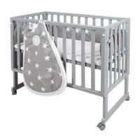 safe asleep® von roba Stubenbett 3 in 1  Little Stars Beistellbett grau, Babybett & Kinderbank aus Holz inkl. kompletter Ausstattung & Schlafsack