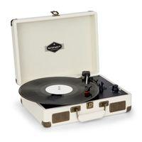 Nostalgy by auna Peggy Sue Retro-Plattenspieler LP USB AUX creme/Messing-Optik
