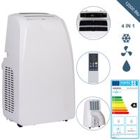 AREBOS 4in1 Mobile Klimaanlage 3,5kW/12000 BTU Klimagerät Kühlen Entfeuchten Ventilator EEK A