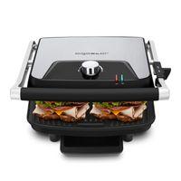 Aigostar Samuel 30IBP - Sandwich Panini Presse, Edelstahl-Panini-Maker mit Ölauffangschale, 2200W, antihaftbeschichtete Platten, leicht zu reinigen, Anti-Verbrühungs-Griff, sicher im Gebrauch