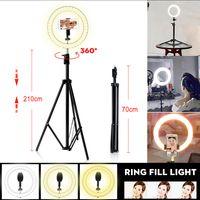 MECO Tragbare LED Dimmbar 10 Zoll Ringleuchte Ring Licht Stativ Ringlicht + 210cm Handy Stativ für Live YouTube Makeup - Dynamic