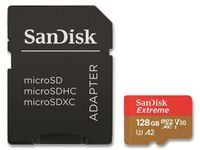 SanDisk microSDXC Extreme 128GB Action-Cam Foto A2, Farbe:Sandisk