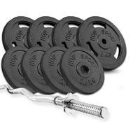 Hop-Sport Gusseisen Hantel-Set 37kg inkl. SZ-Curlstange 120cm, Gewichte: 4x5kg, 4x2,5kg 30mm Hantelscheiben