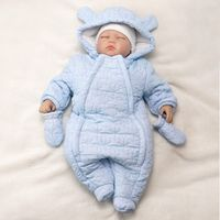 Jungen Baby Winteranzug Schneeanzug Overall Winter mit Handschuhen Sterne hellblau 74/80 (9-12 Monate)