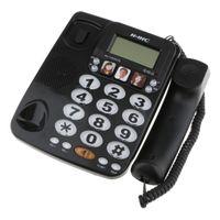 Schnurgebunden Bürotelefon Festnetzanschluss Tischtelefon FSK / DTMF Datum und Zeit Anzeige Freisprechen  Inkl.  Telefondraht Farbe Schwarz