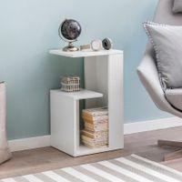 WOHNLING Beistelltisch WL5.696 35x29,5x60 cm Holz Weiß Design Anstelltisch Sofa   Couchtisch klein modern   Kleiner Wohnzimmertisch eckig   Sofatisch Ablagetisch hoch   Schmaler Tisch Wohnzimmer