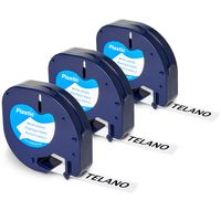 3x Telano 91201 kompatibel Etikettenband als Ersatz für Dymo Letratag Band für LT-100H LT-100T XR, Kunststoff Etiketten Schriftband S0721660 schwarz auf weiß (Dymo Letratag Plastic black on white) 12mm x 4m