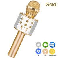 Tragbares drahtloses Karaoke-Mikrofon WS-858, Handheld-Karaoke-Player fuer Mobiltelefone Eingebauter Bluetooth-HIFI-Lautsprecher, Selfie 3-in-1-Akku Karaoke KTV MIC Machine Gold