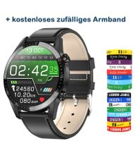 """1,3 """"Smart Watch Full Touchscreen Herzfrequenz Monitor Blutdruck- und Sauerstofferkennung Sicherer Schlaf Multisportmodus IP68 Wasserdichte Smartwatches Healthy Tracker Kompatibel mit Android / iOS (Schwarzes Lederband)"""