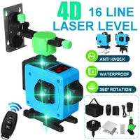 MECO Kreuzlinienlaser Grün 360° Laserpegel Selbstnivellierend 3D 16 Linien Vertikale Horizontale Laser Level, EU-Stecker