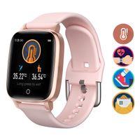 Uhr zur ueberwachung der Koerpertemperatur Intelligentes Beruehren des 1,3-Zoll-Bildschirms Fitness Tracker Armband IP67 Wasserdichte Herzfrequenz-Schlafqualitaetsueberwachung Smart Wrist Watch