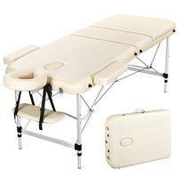 Yaheetech Massageliege mobile 3 Zonen Massagetisch Massagebank Massagebett Kosmetikliege klappbar höhenverstellbare Aluminiumfüße bis 250kg belastbar 70cm Breite Beige