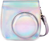 Tasche Kompatibel mit Instax Mini 9 / Mini 8 8+ Sofortbildkamera, Schutztasche aus Weichem Kunstleder mit Schulterriemen und Tasche (Magisches Silber)