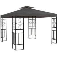 Pavillondach 3x3m Ersatzdach Anthrazit Wasserabweisend Dach für Pavillion mit Kamin