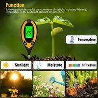 Bodentester, Pflanzen Tester 4-in-1 Digital Boden PH-Meter, Sonnenlicht, Temperatur, Feuchtigkeitsmesse PH Wert Messgerät für Pflanzen, Garten, Bauernhof, Indoor, Outdoor