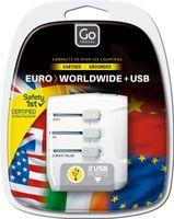 Go Travel Europe-World Reisestecker, mit Doppel-USB, USA, UK, China, AUS