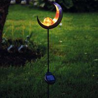 LED Solarstab 'Mond'- schwarz - amber LED - Glaskugel im Kopf - H: 85cm - Dämmerungssensor