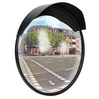 ECD Germany Verkehrsspiegel Ø 30 cm mit Halterung, Schwarz, unzerbrechlich, Wetterfester Sicherheitsspiegel, Überwachungsspiegel, Konvexspiegel, Panoramaspiegel, erleichtert das Ein- und Ausfahren