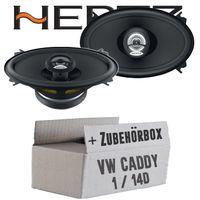 Hertz DCX 460.3 - 10cm x 15cm (4x6 Zoll) Oval Koax Lautsprecher - Einbauset für VW Caddy 1 Front - justSOUND