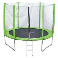 JAWINIO Trampolin 305 cm Gartentrampolin Trampolin Kinder Komplett-Set Leiter Sprungtuch Randabdeckung Grün