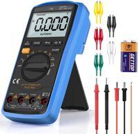Digital Multimeter Auto-Range AC/DC Multimeter Voltmeter Amperemeter Ohmmeter mit Temperaturmessung, LCD-Anzeige und Hintergrundlicht, Frequenz, Tests Dioden, Transistoren
