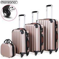 Monzana Kofferset 4tlg. Trolley Koffer |M L XL +Beautycase| Schloss| Gel-Griffe | 4 Rollen Reisekoffer Gepäck   Schminkkoffer