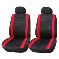 Autositzbezüge Vordersitze | Upgrade4cars Autositzschoner Set in Schwarz Rot für Vorne | Autositzbezug Universal Komplettset | Auto-Zubehör