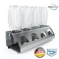 SodaClean® Premium 4er Flaschenhalter mit Abtropfwanne - für SodaStream Duo Crystal Flaschen   aus hochwertigem Edelstahl - Abtropfhalter Abtropfständer inkl. Deckelhalterung   Easy,Fuse,Power,Emil UVM.