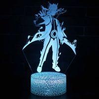 Anime Naruto Uzumaki Naruto Uchiha Sasuke 3D Effekt LED Riss Bunte Note Stereo Nachtlicht Heißes Geschenk für Anime Fans