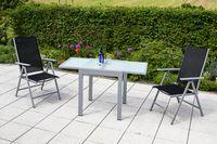 Merxx 3tlg. Amalfi Set, schwarz - 2 Klappsessel, 1 Balkonausziehtisch - Farbe: silber/ schwarz -  Maße: Sessel: 65 x 57 x 108; Tisch: 65 (130) x 65 x 75  cm; 2x 26311-317 + 1x 26441-219