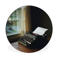 Aluminium Wandkreis - Schreibmaschine - Vintage - Schwarz - Ø 90 cm