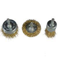 3 teiliges Set  Rad,- Topf und Pinseldrahtbürste  6 mm Schaftdurchmesser