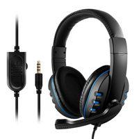 3,5 mm Wired Gaming Kopfhörer über Ohr Spiel Headset Noise Cancelling Kopfhörer mit Mikrofon Lautstärkeregler für PC Laptop Smartphone【Schwarz & Blau】