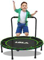LBLA Trampolin für Kinder, Gartentrampolin, Kids Indoor Mini Trampolin bis zu 60kg, 92 cm Durchmesser mit Griff und Schutzhülle