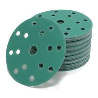 Woltersberger® 50 Stück Exzenter Schleifscheiben Ø 150mm | Körnung P800 | 15 Loch in grün | für optimales schleifen, vielseitig einsetzbar | Klett Schleifpapier Haft