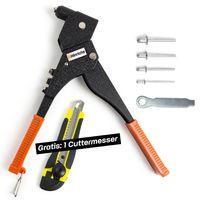 Hinrichs Nietenzange Set mit 100 Alu Nieten Drehkopf Montageschlüssel -  Cuttermesser Gratis