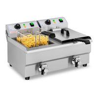 Royal Catering Elektro-Fritteuse - 2 x 10 Liter - Ablasshähne - 230 V
